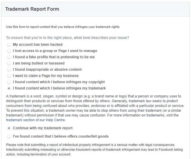 Facebook counterfeit report form
