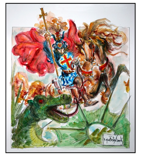 Sant Jordi, patron saint of both Catalonia and England, wearing his famous cross and slaying the monstrous dragon