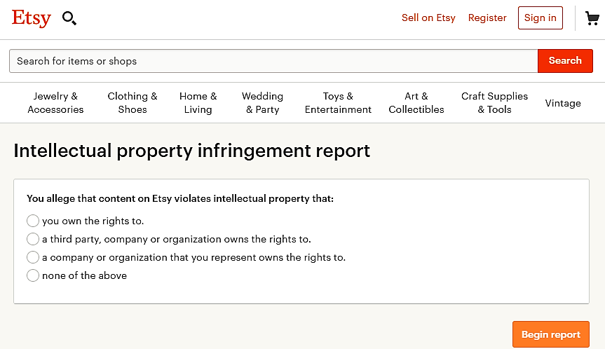 The Etsy IP infringement report form