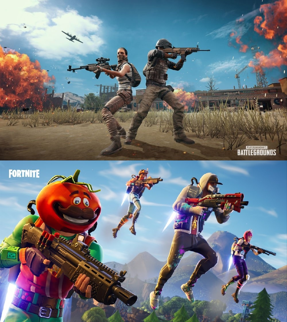 Image of PUBG and Fortnite, currently locked in a copyright lawsuit