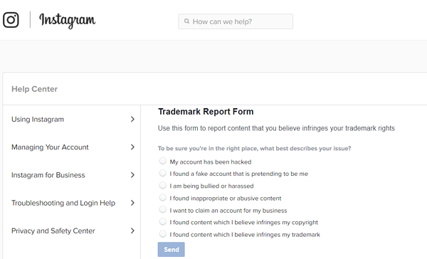Instagram's trademark report form