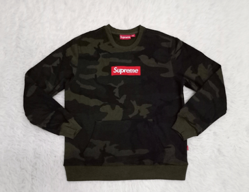 A counterfeit Supreme jumper