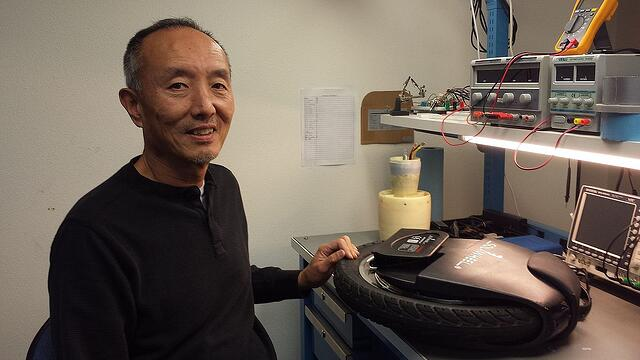 Inventist owner Shane Chen with his invention, the Solowheel, which has been another target of Chinese counterfeiters and copycat manufacturers