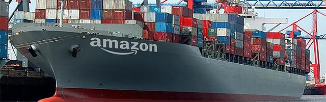An enormous Amazon ocean shipping liner, part of the company's drive to cut out middle-men