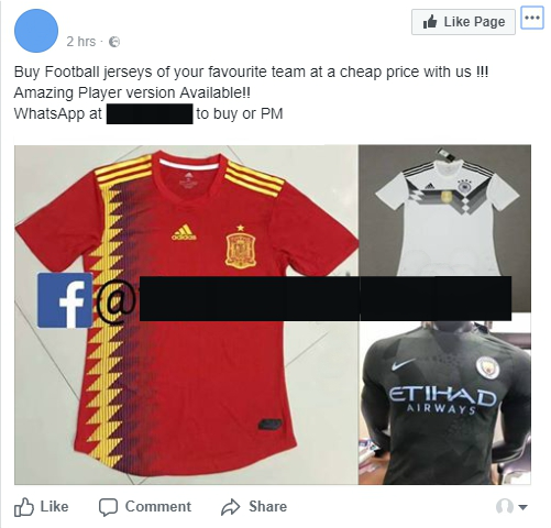 Fake football jerseys available on Facebook