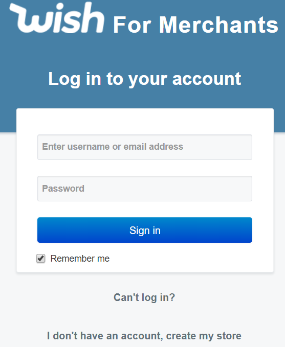 Wish for Merchants login