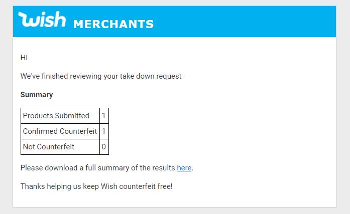 Wish counterfeit report summary