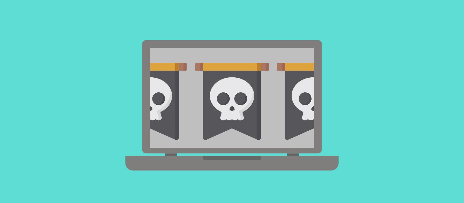 Laptop displaying software piracy
