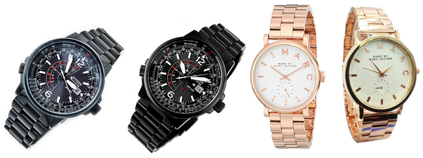 Counterfeit watches, next to their authentic versions